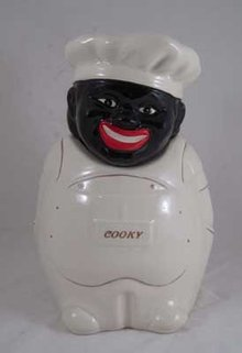 Porcelain White Chef cookie jar COOKY