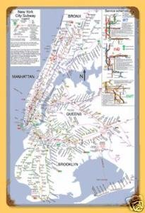 New York Subway Map HEAVY METAL SIGN