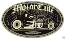 MOTORCULT SO CAL oval metal sign black white