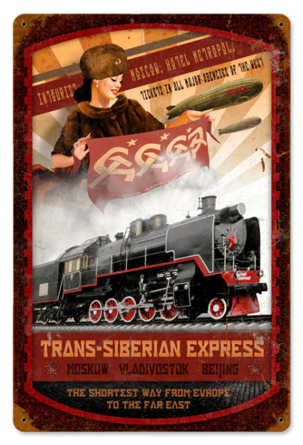 Trans Siberian Express railroad HEAVY METAL SIGN