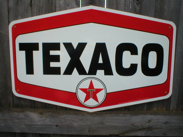 TEXACO HEXAGON DIE CUT HEAVY METAL SIGN
