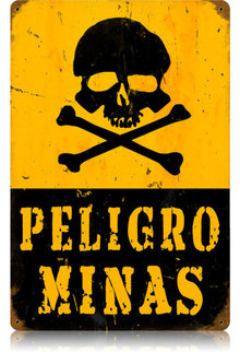 Peligo Minas Heavy Metal Danger Mines Sign