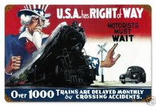 USA Has Right Of Way Uncle Sam Heavy Metal Sign