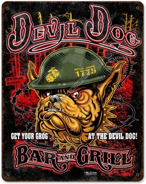 USMC Devil Dog Bar and Grill Heavy Metal Sign