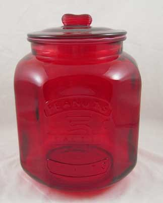 LARGE RED GLASS PEANUTS JAR Raised Lettering