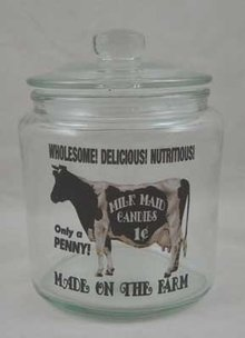 MILK MAID Small Clear Glass Counter Jar