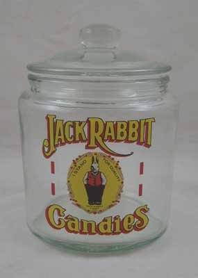 JACK RABBIT CANDIES Small Clear Glass Counter Jar