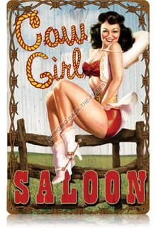 COWGIRL SALOON Heavy Metal Sign