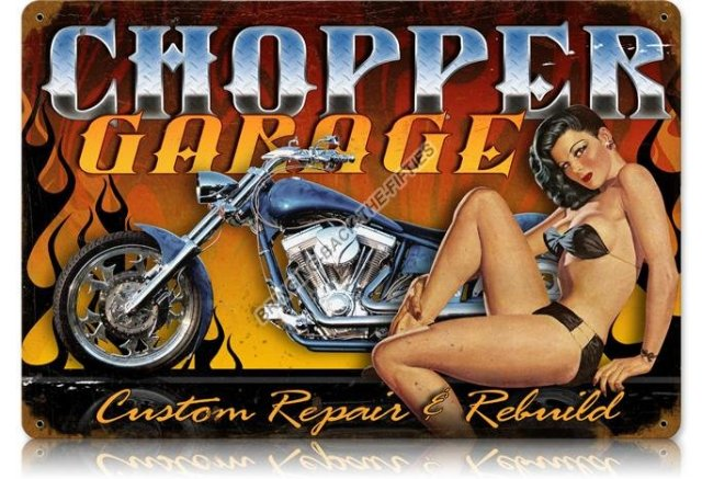 Chopper Garage Heavy Metal Sign