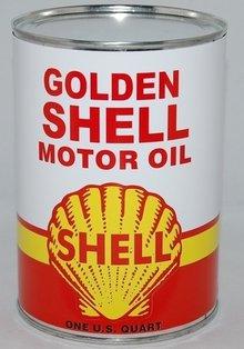 GOLDEN SHELL METAL OIL CAN 32 FL. OZ.