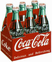 COKE CARTON EMBOSSED METAL TIN SIGN