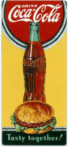 COKE TASTY TOGETHER EMBOSSED METAL TIN SIGN