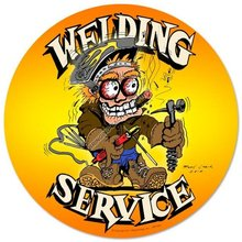 WELDING SERVICE HEAVY METAL ROUND SIGN