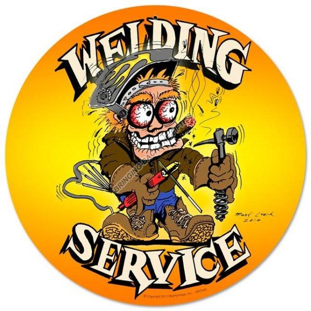 WELDING SERVICE HEAVY METAL ROUND SIGN
