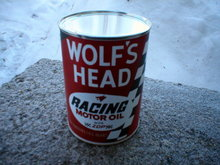 WOLF'S HEAD RACING MOTOR OIL CAN