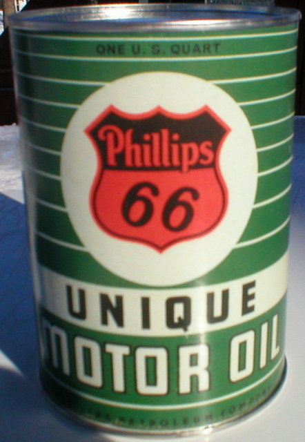 PHILLIPS 66 UNIQUE MOTOR OIL METAL CAN