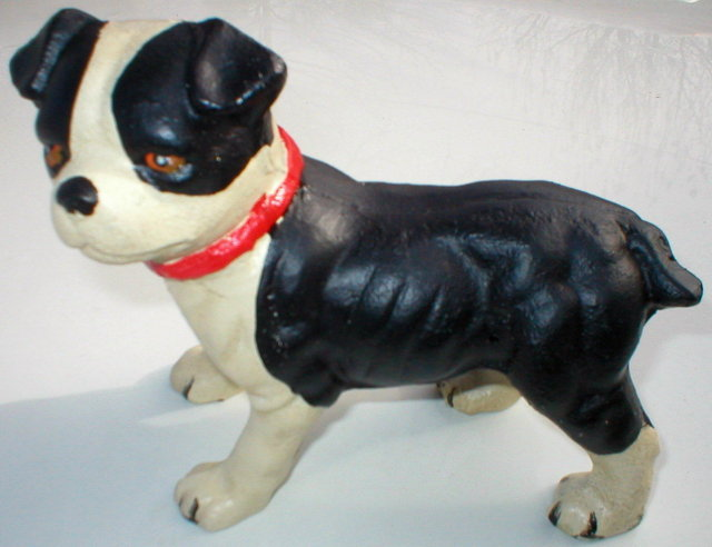 CAST IRON BLACK WHITE FULL BODY DOG