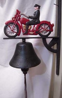 RED WALL MOUNT MOTORCYCLE BELL CAST IRON