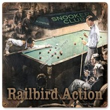 RAILBIRD ACTION POOL BILLIARDS HEAVY METAL SIGN