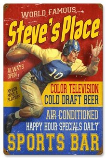 STEVE'S PLACE SPORTS BAR HEAVY METAL PERSONALIZED SIGN