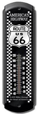 ROUTE US 66 AMERICA'S HIGHWAY THERMOMETER SIGN