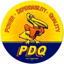 PDQ PETROLEUM DUCK ROUND HEAVY METAL SIGN