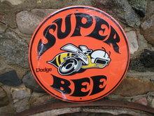 DODGE SUPER BEE ROUND METAL SIGN