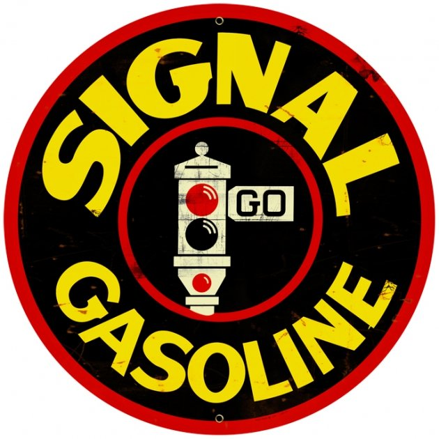 SIGNAL GASOLINE LARGE ROUND METAL SIGN