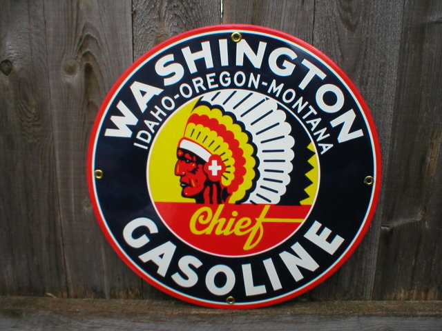 WASHINGTON GASOLINE PORCELAIN COATED SIGN