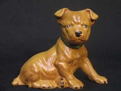 PUPPY BANK BROWN SITTING CAST IRON