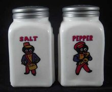 MUSICIANS WHITE MILKGLASS SALT & PEPPER SET