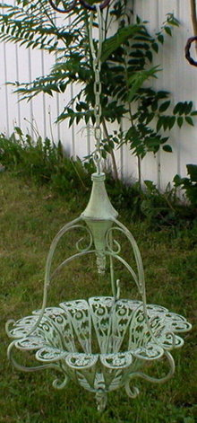 VICTORIAN MINT GREEN HANGING PLANTER WROUGHT IRON