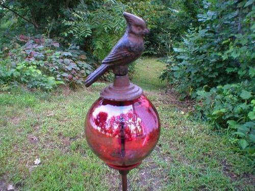 CARDINAL GARDEN STAKE HOME DECOR RED GLASS BALL