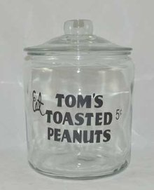 TOM'S TOASTED PEANUTS GLASS COUNTER JAR