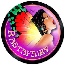 Rastafairy round metal sign COLORFUL