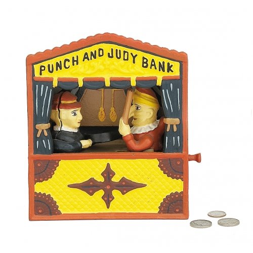 PUNCH JUDY MECHANICAL BANK CAST IRON P