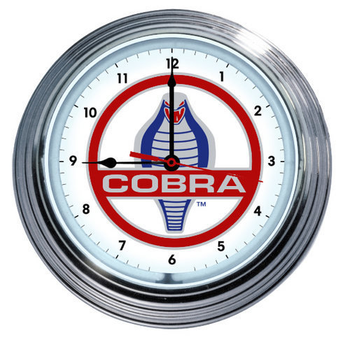 SHELBY COBRA RIBBED CASE NEON CLOCK