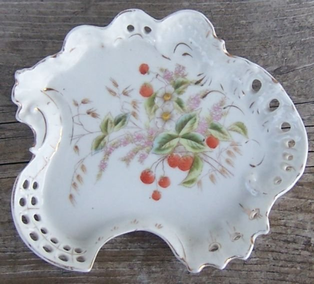 Vintage China Pierced Edge Tray with Strawberries
