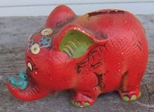 Vintage Napco Red Elephant with Blue Bird Still Bank