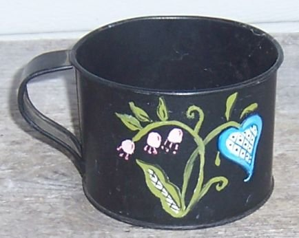 Vintage Black Metal Cup with Tole Painted Flowers