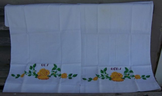 Vintage His and Hers Pillowcases with Painted Flowers