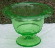 Vintage Green Glass Floral Etched Footed Compote