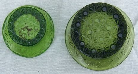 Set of Two Button and Daisy Green Glass Top Hats
