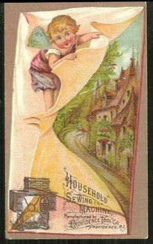 Victorian Trade Card for Household Sewing Machine with Angel