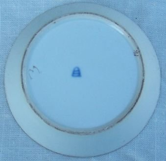 Vintage Small Dish With Blue Design and Gold Trim