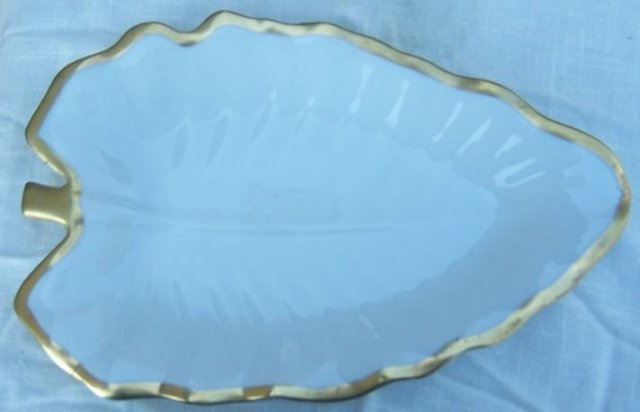 Vintage Large Leaf Serving Dish with Gold Trim