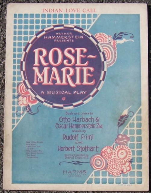 Indian Love Call From Rose Marie A Musical Play 1924 Sheet Music