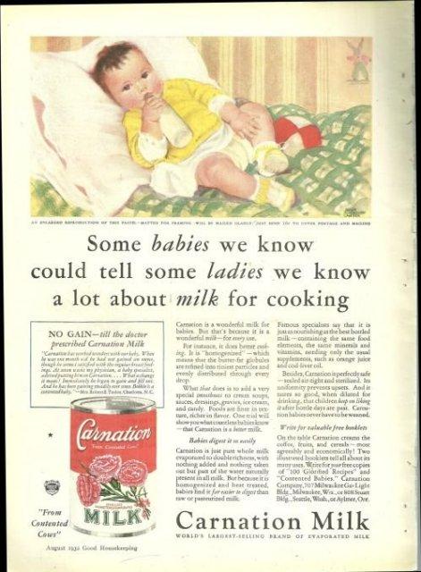 1932 Good Housekeeping Color Advertisment for Carnation Milk Helen Carter
