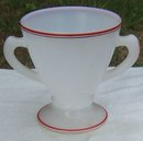 Vintage Hazel Atlas Glass Sugar White with Red and Black Trim