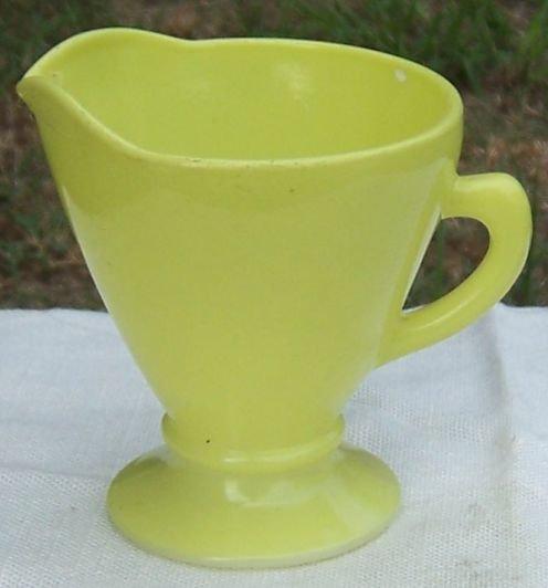 Vintage Hazel Atlas Glass Creamer in Chartreuse Color